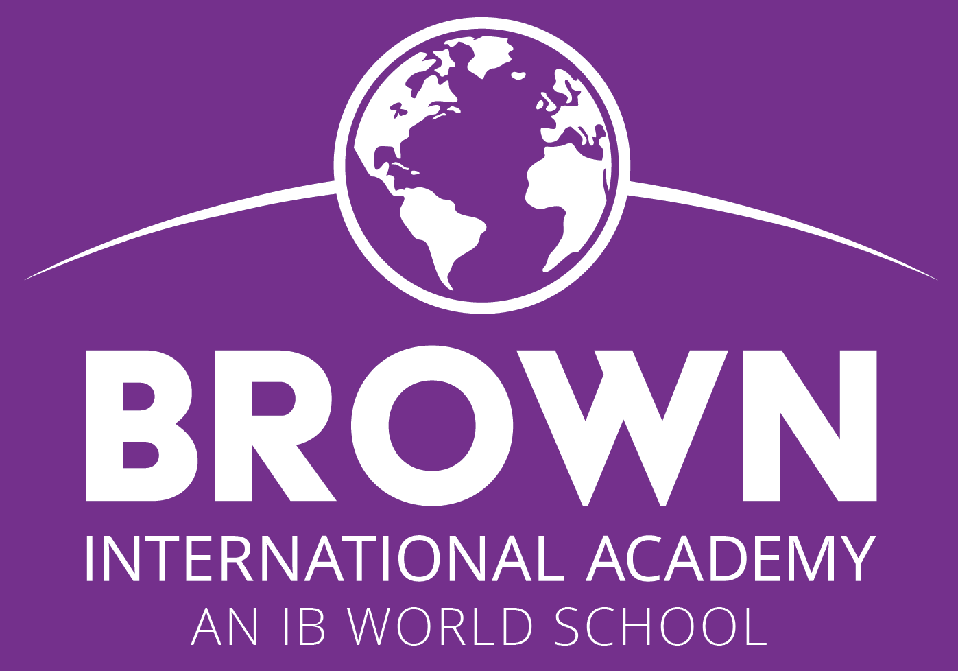 Brown International IB World logo stacked white